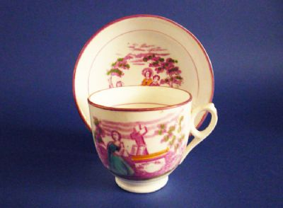 Pink Lustre 'Faith, Hope and Charity' Porcelain Cup and Saucer c1825 #1